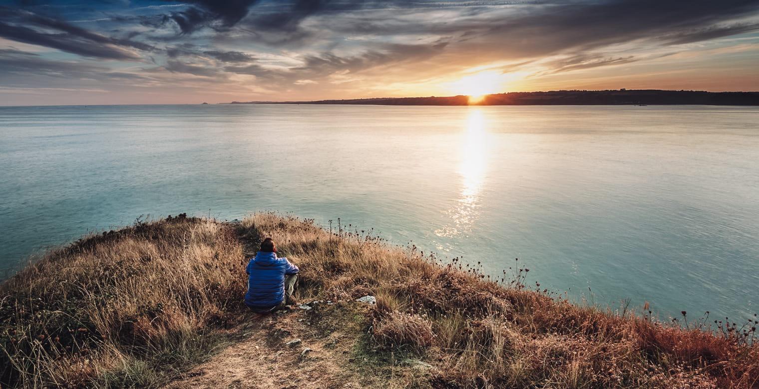 Coucher du soleil sur la Baie de Saint-Brieuc, pointe des Guettes