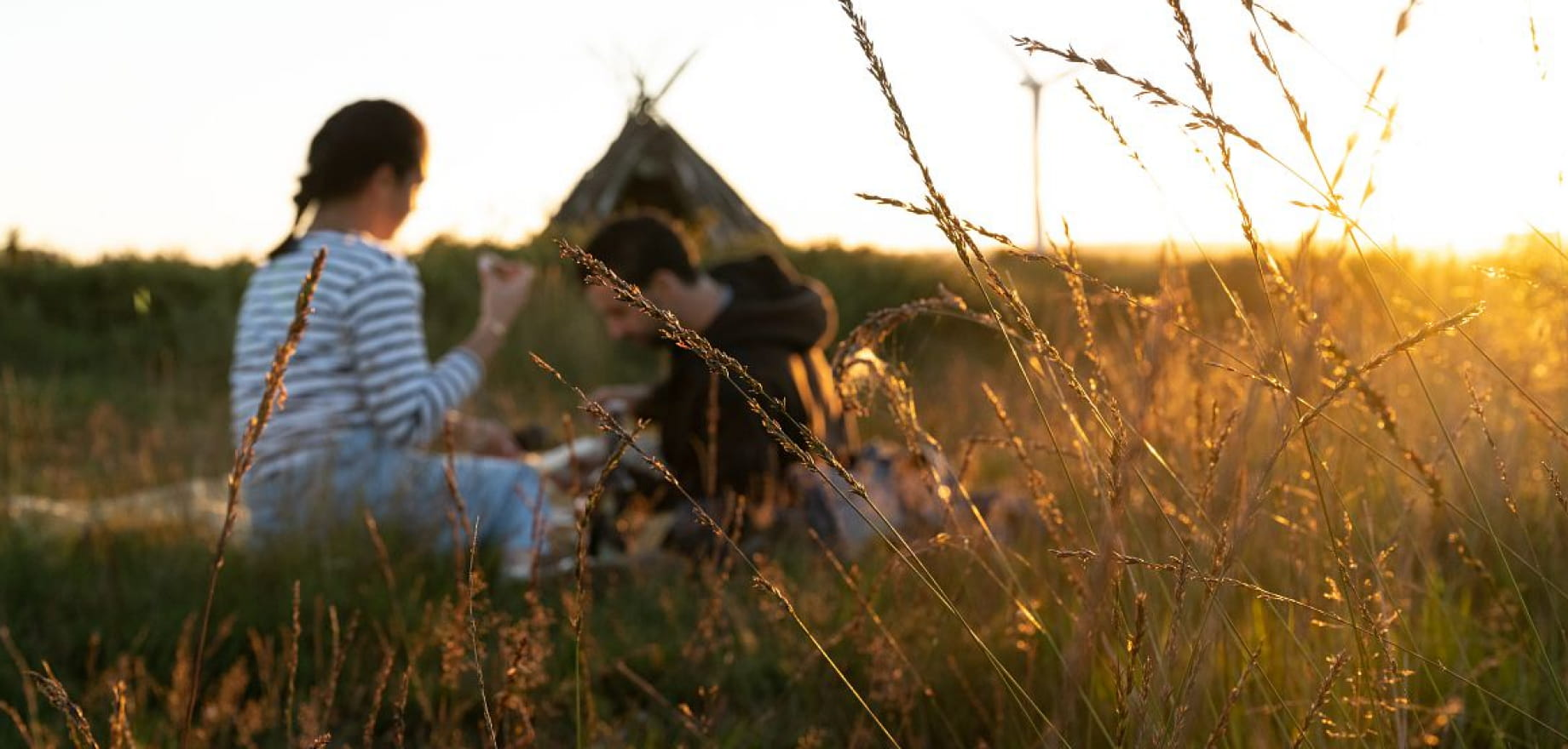Les Landes de Lanfains - Coucher de soleil - Couple bruyere