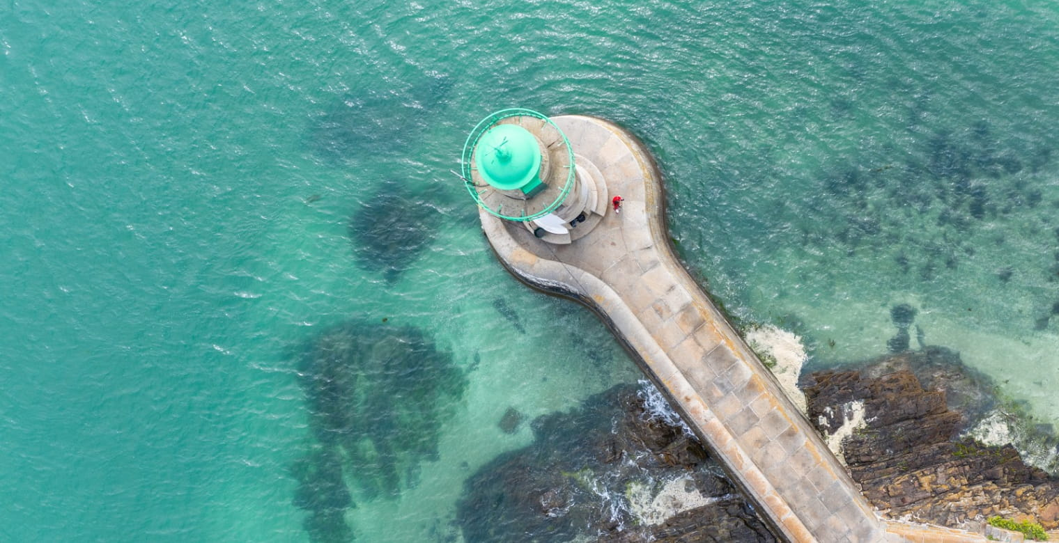 Phare De Saint Laurent De La Mer - port du Legue, plerin - Vue drone