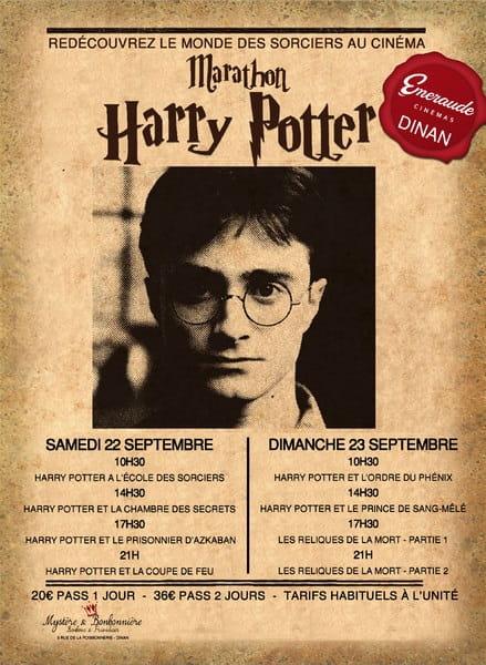 Marathon Harry Potter Horaires  22-23 septembre DINAN