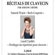 Récitals Clavecin  juin-juillet 2018 Adeline Cartier